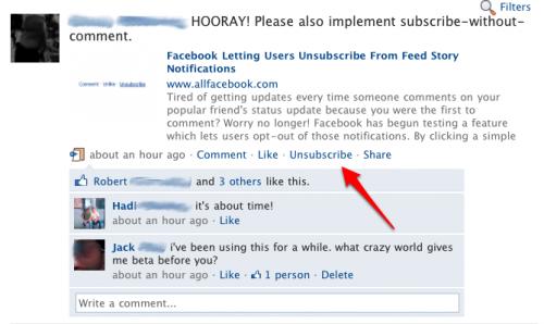 Facebook Unsubscribe