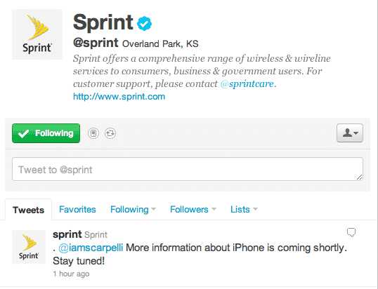 @Sprint Twitter account